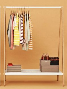 i love the idea of having a clothing rack instead of a closet.