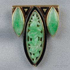 Art Deco 14kt Gold, Enamel, and Carved Jade Dress Clip | Sale Number 2659B, Lot Number 508 | Skinner Auctioneers