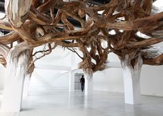 A twisted entanglement of tree branches appears to grow organically from the beams of Paris' Palais de Tokyo museum in this installation by Brazilian artist Henrique Oliveira