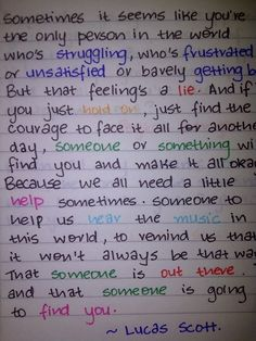 Ahh love it! Knew when it sounded familiar as I was reading it.  one tree hill quotes   Tumblr