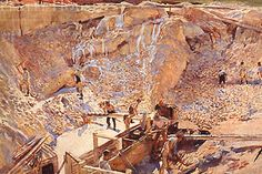 'Men Working in a China Clay Pit,' (c. 1914, watercolour and gouache on paper), by Dame Laura Knight (English, 1877-1970).