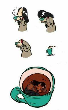 Swimming in coffee