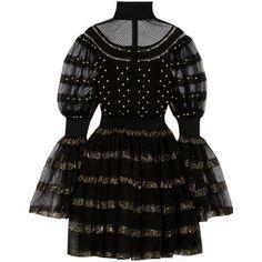 Alexander McQueen Paneled fil coupé stretch-knit turtleneck mini dress