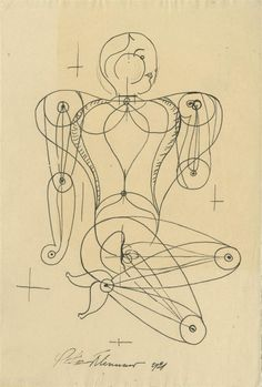 "Oskar Schlemmer (German, 1888 - 1943). ""Figur"". Pen and ink drawing. 1921."
