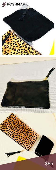 Fur and Hide Leather Clutch Abeja 100% Leather and Fur Clutch with a gold zipper top and matching tassel detail can be used fully open 9x14 or folded length wise as a 9x7.   Also available on my page in a 9x14 100% Leather & Cheetah Fur and a 12x12 100% Leather Brilliant Yellow. Abeja Design Bags Clutches & Wristlets