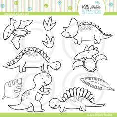 Dinosaur - Digital Stamps, Elements Commercial use for Cards, Stationery and Paper Crafts and Products by Kelly Medina. $5.00, via Etsy.