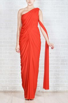 Coral Saree Style Gown By Creo @Looksgud.in #Creo, #Red, #SareeGown, #PartyWear
