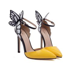 Fashionable Butterfly Wings and Color Block Design Women s Pumps ($41) ❤ liked on Polyvore featuring shoes, pumps, yellow, yellow pumps, color block pumps, butterfly pumps, butterfly shoes and winged shoes