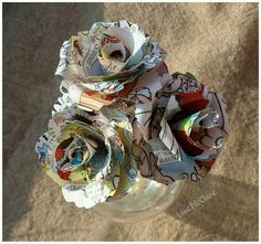 Paper roses, made from Beano comic paper.
