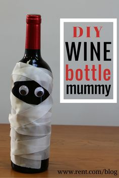 Looking for a cute and easy Halloween craft? It only takes 15 minutes to make this DIY wine bottle mummy! Use it as decoration for your apartment or bring as a hostess gift for a Halloween party. Either way, you get to drink wine. See step by step instructions on the Rent.com blog!