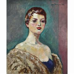 Kees van Dongen - PORTRAIT DE FEMME, 1955, oil on...
