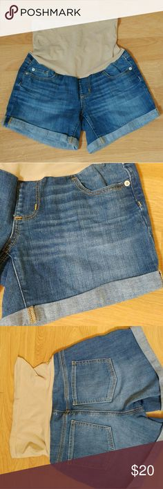 9dc66864fb31c A Pea in the Pod Jean Denim Stretch Band Shorts A Pea in the Pod Maternity