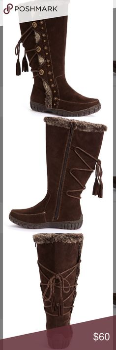 Faux Fur Brown Nordic Boots Size 8.5 Price Drop for Gifting!! These wonderfully soft boots are a winter must-have. Faux fur lining. Zip up the side and the ties are adjustable too. More details in pictures. Smoke free home. Shoes Winter & Rain Boots