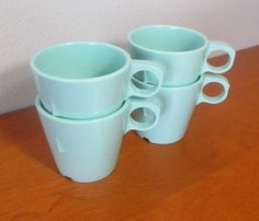Atomic Texas Ware melamine cups or mugs in pale mint turquoise, set of four by MyRetroAtomicLife on Etsy