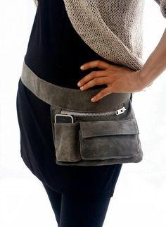 Gray Leather Hip Bag, bum bag, fanny pack, travel pouch, belt pocket