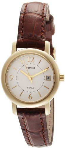 Timex Women's T2N3349J Classic Analog Gold Case Brown Leather Strap Dress Watch >>> Check this awesome product by going to the link at the image.