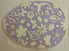 Egg Filigree Sizzix die cuts, embroidery stitches, felted wool applique