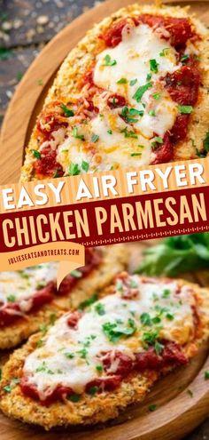 This contains: AIR FRYER CHICKEN PARMESAN, air fryer dinner recipes, chicken dinner recipes