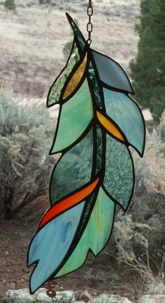 Stained Glass Window GHOST DANCE FEATHER by ZuniMountainArtGlass