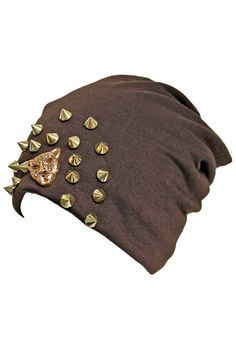 Slouchy Spike Studded Hat With Tiger Face
