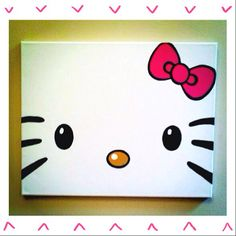 Hello Kitty Painted Canvas by MBellaBoutique on Etsy, $18.00