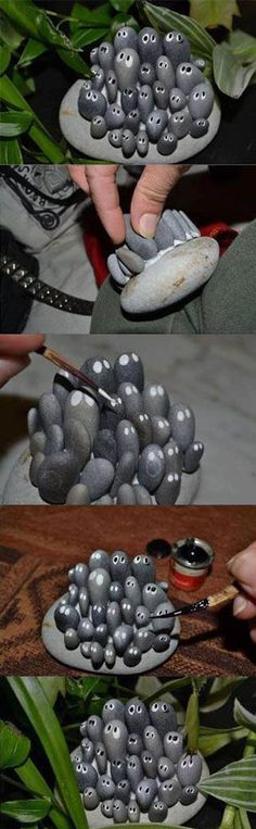Cute Stone Craft | DIY & Crafts Tutorials. So cute, but I might forget it someday and have a heart attack lol.