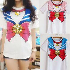 Barato 2014 New Hot Sailor Moon Harajuku T camisa mulheres Cosplay Ttop Kawaii falso marinheiro T menina nova grátis frete, Compro Qualidade Camisetas diretamente de fornecedores da China:                            Plus Size