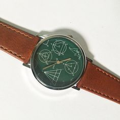 Geometry Formulas and Equations on Board Watch , Vintage Style Leather Watch, Women Watches, Mens Watch, Unisex , Boyfriend Watch, Math by FreeForme