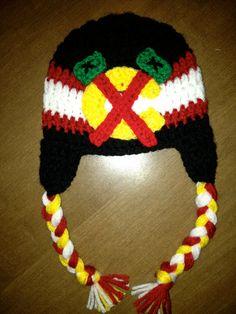 Chicago Blackhawks Inspired Hat. Crocheted Blackhawk hat. @Lauren Davison Davison Davison Schmidt