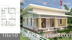 House Design with 3 Bedrooms full interiorThe House has:-Car Parking and garden-Living room,-Dining Bedrooms, 2 bathroom Coastal House Plans, Simple House Plans, Country Style House Plans, New House Plans, House Floor Plans, 3 Room House Plan, Three Bedroom House Plan, Story House, House Floor Design