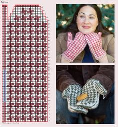 Houndstooth pattern for mittens. Knitted Mittens Pattern, Crochet Mittens, Knitted Gloves, Knit Or Crochet, Filet Crochet, Crochet Hats, Knitting Charts, Knitting Socks, Hand Knitting