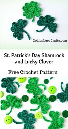 Shamrock Crochet Applique, Lucky Clover, Free Crochet Pattern, heart shaped - GoldenLucyCrafts