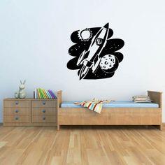 Flying Rocket Wall Sticker Space Wall Art