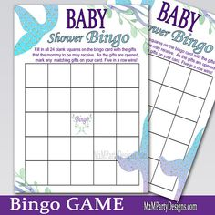 Mermaid Bingo Baby Shower Game: Blue Set of 2 Instant Download #babyshowergames #mermaidparty by #m2mpartydesigns