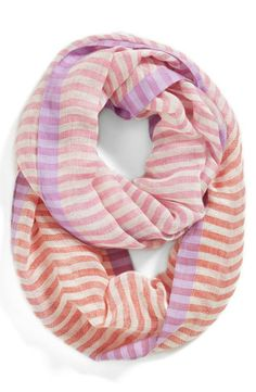 Pink striped infinity scarf - so cute!