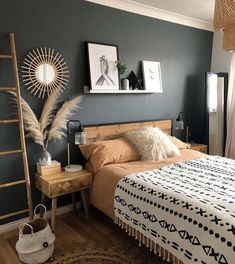Inspirational ideas about Interior Interior Design and Home Decorating Style for Living Room Bedroom Kitchen and the entire home. Curated selection of home decor products. Room Ideas Bedroom, Home Decor Bedroom, Master Bedroom, Black Bedroom Walls, Urban Bedroom, Western Bedroom Decor, Bedroom Beach, Budget Bedroom, Bedroom Small