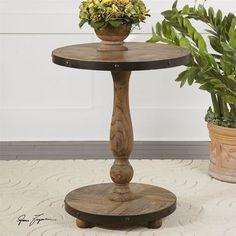 Kumberlin Weathered Wood Pedestal Table