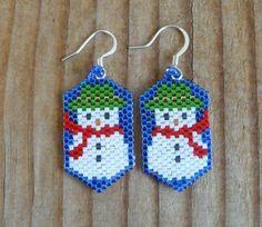 Snowmen Beaded Earrings by DoubleACreations on Etsy, $10.00