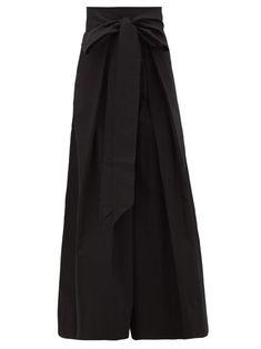 Kalita Avendon High-rise Belted Cotton Wide-leg Trousers In Black Wide Leg Trousers, Trousers Women, Top Stylist, Wrap Pants, Capsule Wardrobe, Wardrobe Ideas, Pants Pattern, Beachwear, Fashion Online