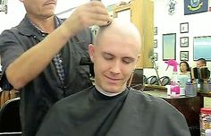 A barber boy enjoying being caped and in the chair. Barber Shop Haircuts, Haircuts For Men, Bald Men Style, Shaving Your Head, Bald Fade, Short Hair Cuts, Hair Beauty, Shaved Heads, Guys