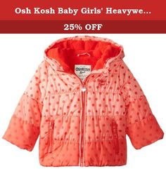 Osh Kosh Baby Girls' Heavyweight Single Jacket, Red, 12 Months. Girls dot printed hombre puffer, fleece lined in hood and body, two side ntry zipper pockets.