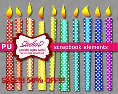 Polka dots candle clipart printable digital scrapbook elements digiscrap clipart digiital images birthday clipart for instant download by StudioDprint