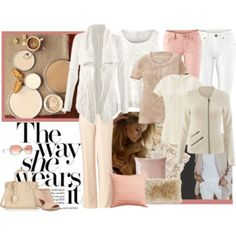 """Beige, White & Blush"" by inlovewithfashion-874 on Polyvore www.jeanettemurphey.cabionline.com"
