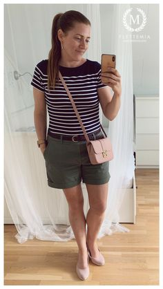 #FletteMia • Navy Blue T-shirt w/White Stripes: #HM • Green Shorts: #HM • Dusty Pink Shoes: #sOliverShoes • Dusty Pink Bag: #AnnaField Putting Outfits Together, Navy Blue T Shirt, Green Shorts, Pink Shoes, Dusty Pink, My Wardrobe, Casual Shorts, Anna, Stripes