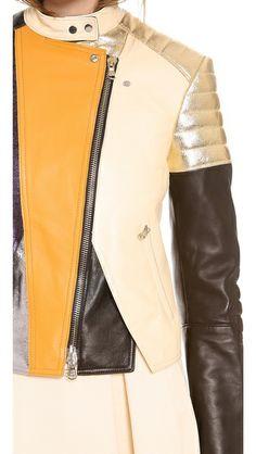 e6da6e086 3.1 Phillip Lim Куртка-косуха с цветными блоками и мягкими вставками на  плечах и локтях