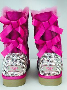 Custom UGG Boots made with Swarovski Bailey Bow Free: Shipping, Repair Kit, Cleaning Kit, Crystal Co Low Top Uggs, Custom Uggs, Ugg Boots With Bows, Bailey Bow, Studded Boots, Ugg Classic, Cleaning Kit, Ballet Shoes, Swarovski Crystals