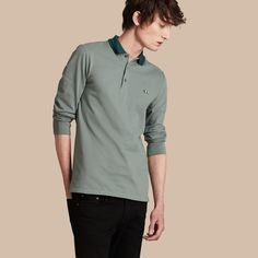 Polo en piqué de coton à bande contrastante Bleu Craie/noir | Burberry