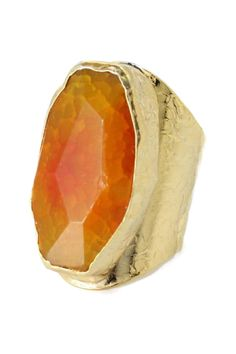 24K gold plated covered bezel set faceted freeform golden agate textured ring