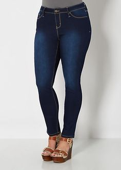 image of Plus Dark Blue Brushed Skinny Jean