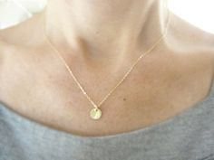 Small gold disk necklace - gold vermeil tiny disk necklace - simple everyday jewelry $26.00